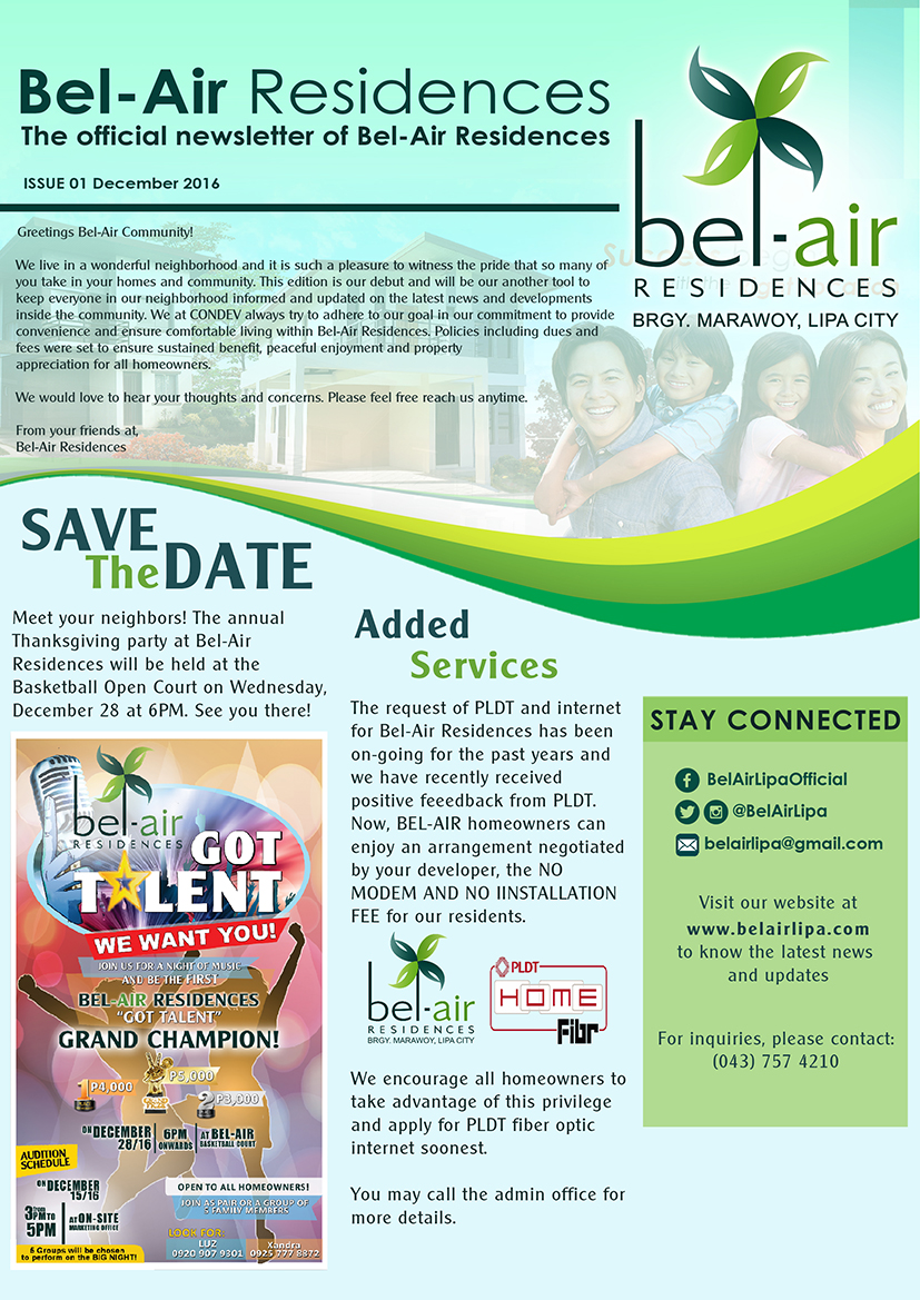 Bel-Air Residences Newsletter Dec2016